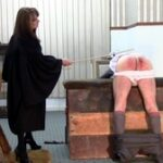 """The vaulting horse, principally used to cane pupils over, was set up for a punishment. Miss Hastings-Gore, looking very much the very strict headmistress, called in the wayward boy, telling him she would tolerate his behaviour no longer. For 3 demerits in one term he would be punished, """"firmly and hard."""" Despite his protestations his shorts came down and he bent over the horse. Taking a heavy cane she lashed his bottom hard. """"Nice and steady"""" she said so he could soak up the severity. The cane made a fearsome crack on his rear, 6 agonising times. Underpants down she took a thinner, whippier cane that left distinct reminders of his caning with each bite. This was getting through to him all right. His breathing was laboured and he was panting by the end of the next 6. He promised to behave and was dismissed."""