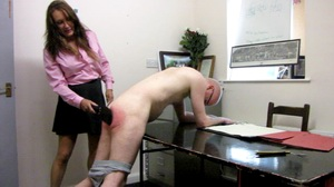 she laid on the leather paddle hard with a loud and satisfying crack