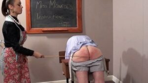Donald's housework skills were simply not improving and, checking my 'scary little black book' I had no choice but to spank him. On went my 'Punishment Pinny' and he went over my knee for a good, bare bottom spanking until he was whimpering pitifully. I threatened to humiliate him in public next time but for now I strapped his hands, which he couldn't take so I beat him with a wooden spoon in the kitchen. When I saw his latest pathetic attempt at housework I took him by the ear to the schoolroom and selected a heavy hardwood long-handled paddle and gave it to him hard, promising that I'd cane him if he cried. Of course, he did and I caned him hard with my dragon cane but he was so pathetic I raised the tally from 6 to 12. He was sobbing his eyes out by 10. He'll learn!