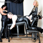 Featuring Mistress Athena, Mistress R'eal. Both armed with strap-ons, Mistress Athena and Mistress R'eal turn their slave into a filthy, degraded fuck slut. He must gag on their cocks before being spit-roasted and made to squeal like a pig, proving he's been turned into a shameless anal whore.