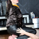 smell and kiss her perfect leather covered bottom as she sits firmly over his face