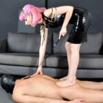 Miss Eris uses her foot and shoe slave as a doormat in this session, thoroughly trampling him all over his body, including his most sensitive parts. His prize is to be able to kiss and worship her most beautiful feet.