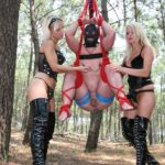 Abused in the woods by two demanding mistresses